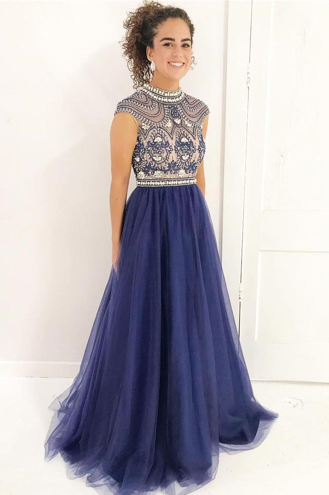 Vintage Stylish A-Line High Neck Cap Sleeves Navy Blue Beaded Lace Tulle Prom Dresses