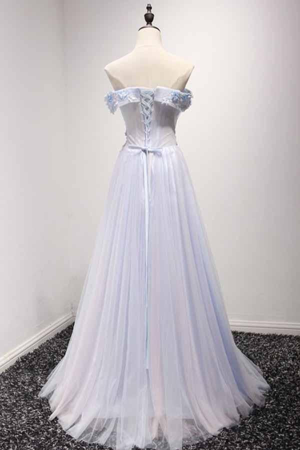 Sky Blue A-Line Off-the-Shoulder Floor-Length Tulle Prom Dresses with Appliques Lace