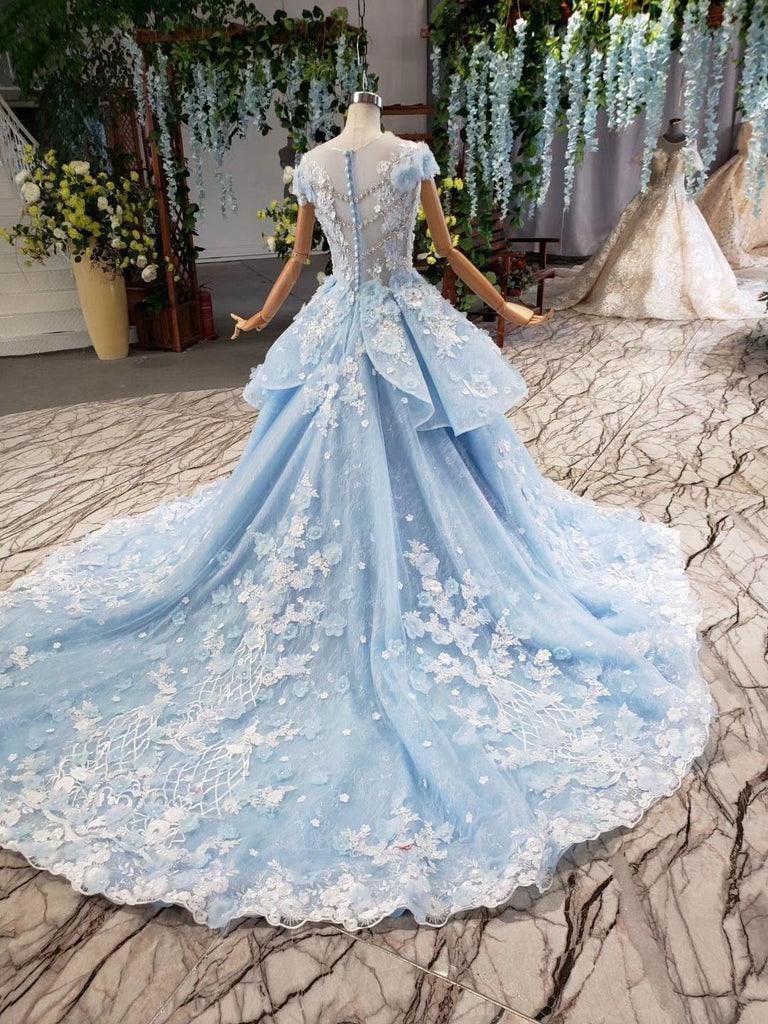 Princess Light Blue Ball Gown Cap Sleeve Prom Dresses with 3D Flowers Quinceanera Dress