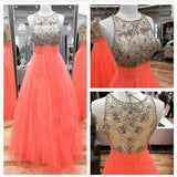 Prom Dresses Scoop Long Tulle Coral Beads Sheer Back High Neck Sleeveless Evening Dress