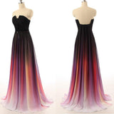 Long Sexy Gradient Ombre Sleeveless Black Navy Blue Chiffon A-Line Prom Dresses