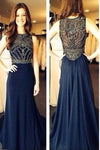 Long Navy Chiffon Beading Sleeveless A-Line Scoop Long Evening Dress Prom Dresses
