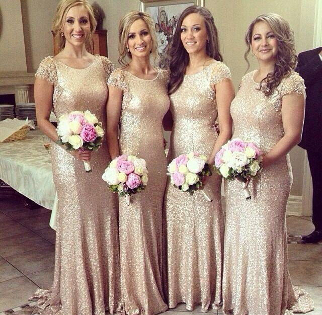 sparkle long champagne sequin bridesmaid dress lace sleeves bridesmaid dress