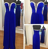 Royal Blue Royal Blue Silver Beaded Beads Sweetheart Chiffon Formal Gown For Senior Teens