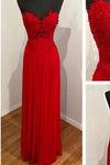 Red chiffon lace long sweetheart neck elegant party dress simple evening dress dress for teens