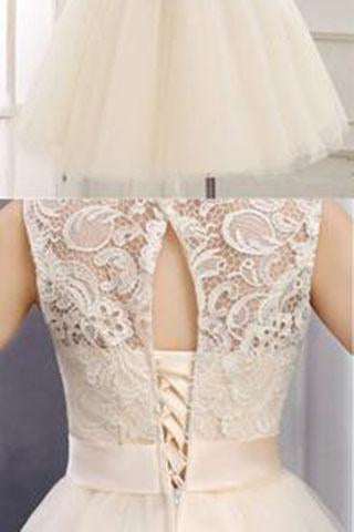 Lace Short Champagne Ball Gown Sleeveless Bowknot Open Back Scoop Homecoming Dresses