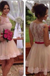 Lace Tulle Cute Fashion Scoop A-Line Sleeveless Homecoming Dress Short Prom Dress