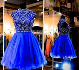 Royal Blue Homecoming Dress Short Tulle Fitted Party Dress Beading Prom Dresses