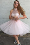 Two Pieces Pretty Sexy Charming Beading Halter Tulle Blush Pink Homecoming Dresses