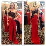 One Shoulder Sexy Lace Appliques Backless With a Slit Side Long Red Prom Dresses