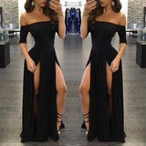 Sexy Black Long Off-the-Shoulder A-Line Half Sleeve Scoop Sexy Slit Prom Dresses