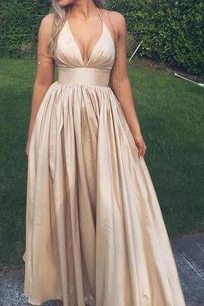 Sexy V neck Prom Dresses Sexy Champagne Graduation Dress Open Back Party Dresses
