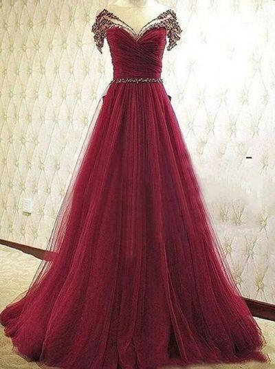 Pd61139 Charming Prom Dress Tulle Prom Dress Beading Prom Dress A-Line Evening