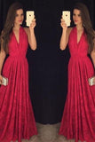 Hot Sexy V-neck Red Prom Dresses/Lace Long Formal Dress