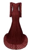 Long Mermaid Sweetheart Long Sleeve Burgundy Evening Dresses Lace Prom Dresses
