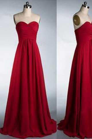 Simple Sweetheart Strapless Red Floor-Length A-Line Backless Sleeveless Prom Dresses