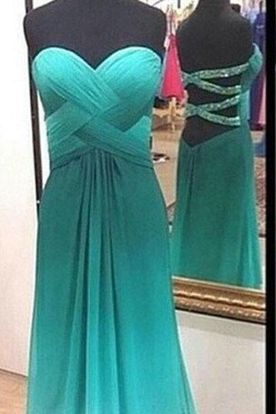 Simple A-Line Chiffon Ombre Strapless Green Sweetheart Open Back Prom Dresses