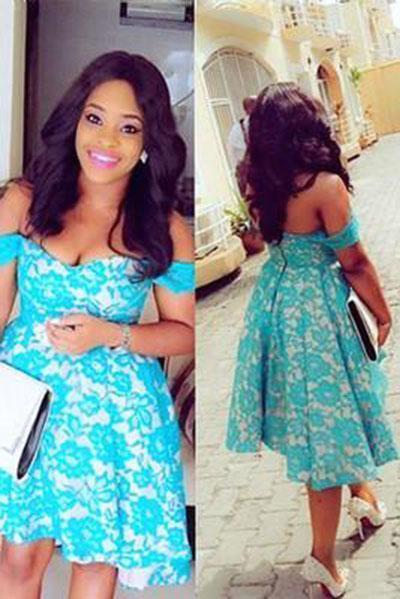 Short Off-shoulder Blue Lace Ruched Hi-lo Satin Chic Cocktail Dress Homecoming Dress