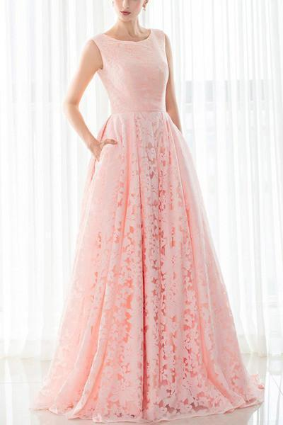 Pink lace round neck A-line long prom dresses for teens graduation