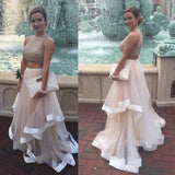 New Style Prom Dresses Sexy Champagne Prom Dress Two Piece High Neck Tulle Party Dresses