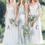 Mismatched Chiffon Sequin A Line Spaghetti Straps One Shoulder Cheap Bridesmaid Dresses