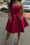 Simple Strapless Cute Cheap Beaded Red Sleeveless Homecoming Dresses with Pockets