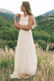 Simple A Line Round Neck Chiffon Long Bridal Dresses Beach Wedding Dresses