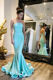 Sexy Elegant Strapless Mermaid Backless Long Green Backless Sleeveless Prom Dresses