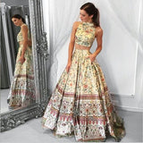 Unique A line Two Piece High Neck Tribal Satin Prom Dresses with Pockets Party Dresses