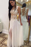 Sexy A-line Crew Floor-Length Chiffon Sleeveless Beaded Appliques White Prom Dresses