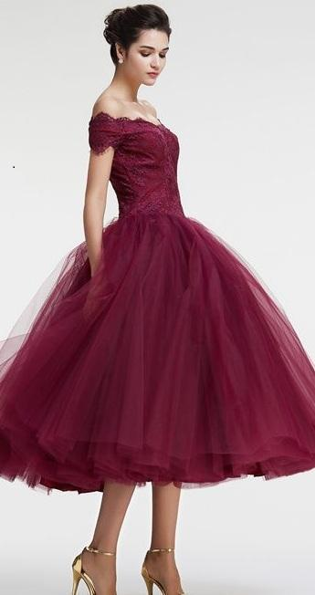 Vintage Princess Off the Shoulder Tea Length Ball Gown Scoop Burgundy Homecoming Dress