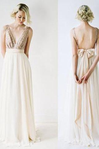 Sequin Sexy Chiffon Long Backless V-Neck Backless Sleeveless A-Line Bridesmaid Dresses