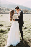 Princess A Line Long Sleeve Rustic Scoop Lace Appliques Tulle Ivory Beach Wedding Dress