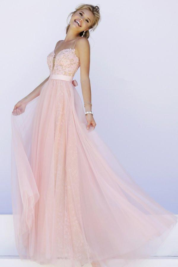 Pink Prom Dress Simple Lace backless prom dresses long evening Formal Gown
