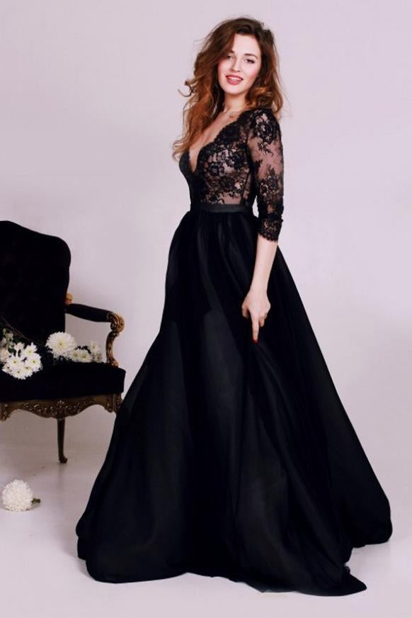 New Style Black 3/4 Sleeves Lace Satin V-Neck A-Line Floor-Length Evening Dresses