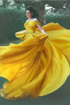 Stylish A-Line Off-Shoulder Yellow Chiffon Evening Dress with Beads Prom Dresses