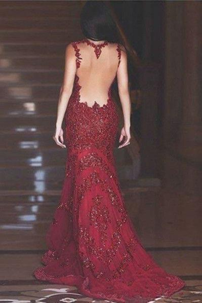 Sexy Burgundy Mermaid V-Neck Sleeveless Floor-Length Appliques Prom Dresses