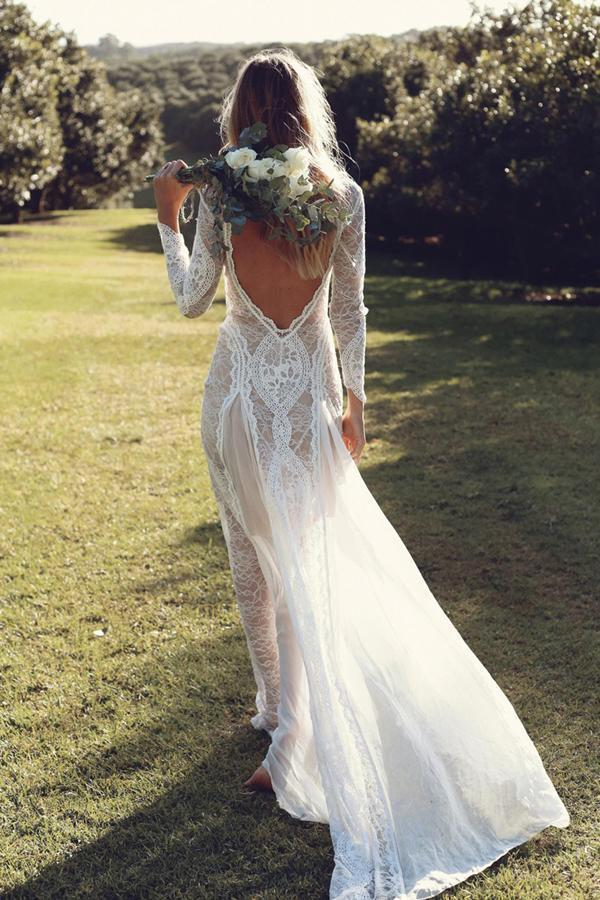 Ivory Sheath Brush Train Long Sleeve Backless Lace Wedding Dress Beach Wedding Dress