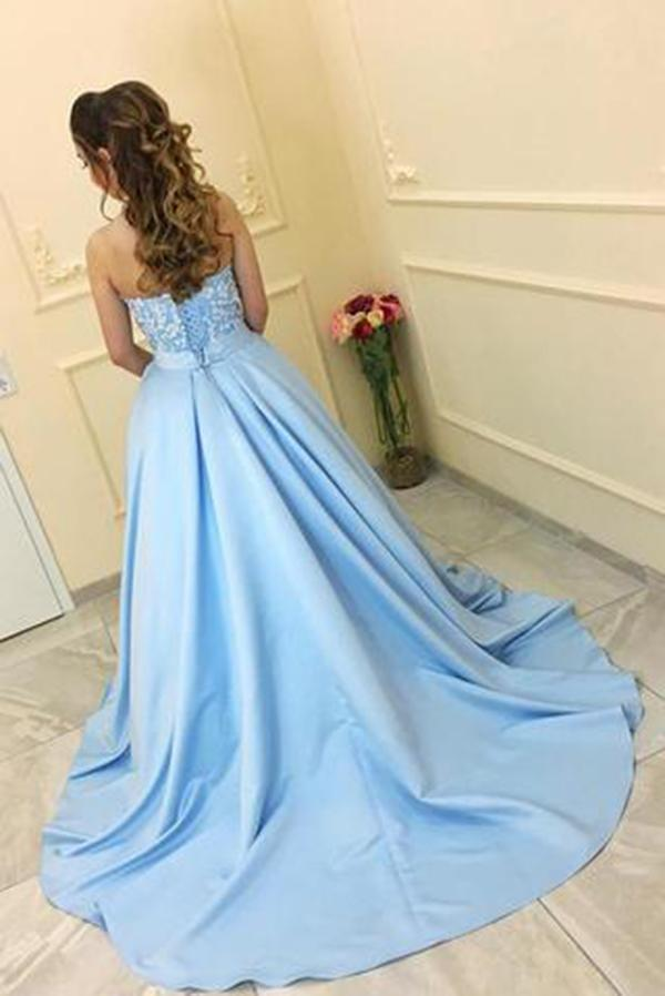 Modest A-Line Sweetheart Strapless Light Blue Sleeveless Long Prom Dresses With Lace