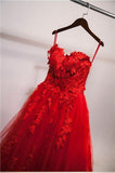 Red Ball Gown Tulle Strapless Generous Floral Fashion Quinceanera Prom Dresses