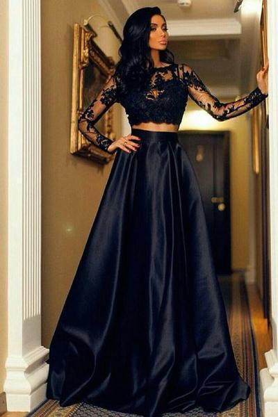 Two Piece Scoop A-Line Bateau Long Sleeves Black Floor Length Prom Dresses with Lace