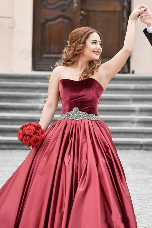 Special Burgundy Velvet Sweetheart Beads Strapless Sash Ruched Satin Prom Dresses