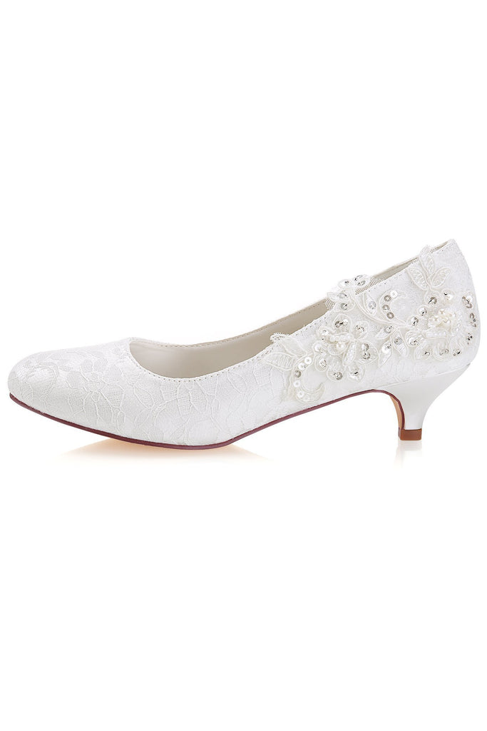 White Lace Sequins Wedding Shoes Lower heel Evening Shoes