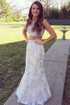 Mermaid Lace Sweep Train Pearl Pink Scoop Beads Two Piece New Style Prom Dresses