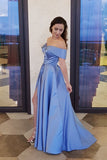 Unique A line Blue Off the Shoulder Sweetheart High Slit Satin Long Prom Dresses