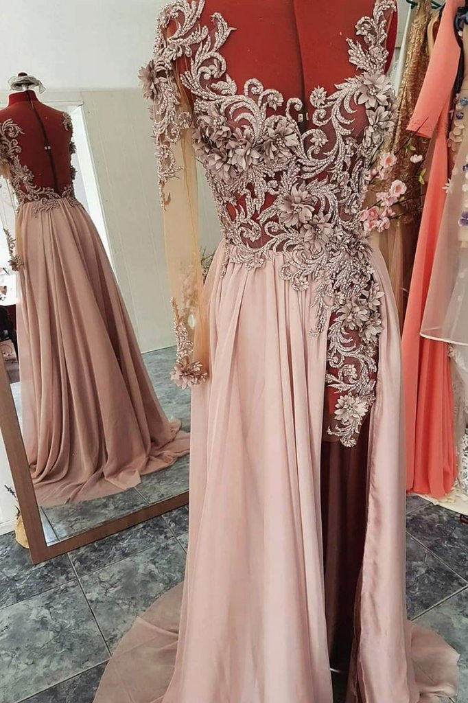Unique Round Neck Chiffon Lace Long Beads Long Sleeve Party Prom Dresses