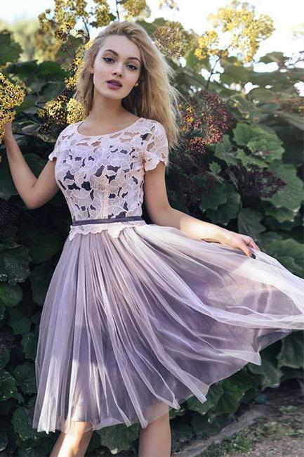 Short Sleeves Scoop Lace Homecoming Dresses A line Cheap Pink Short Prom Dresses