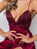 Sheath V-neck Sequined Silk-like Satin Ankle-length Split Front Backless Prom Dresses