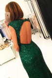 Mermaid Dark Green Open Back Long Cap Sleeves Split-Front Prom Dresses with Sequins