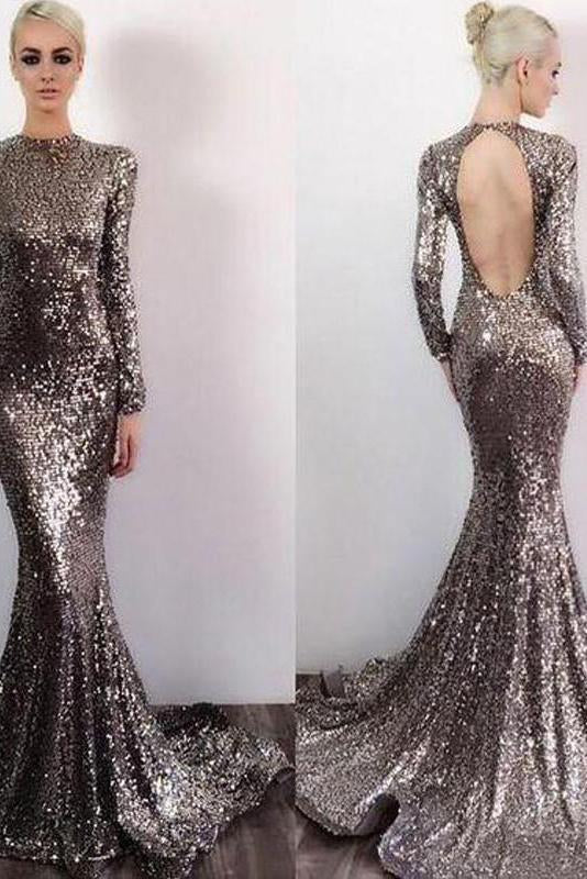 Long Sleeve Sequin Open Back Mermaid Shinny High Neck Floor-Length Prom Dresses
